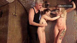 Naked girls creature whipped