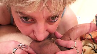 Old woman woke up a guy with a blowjob and fucked him