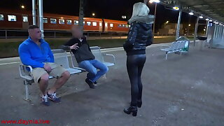 Public threesome yon Double Facial directly on the station!