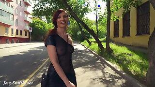 Summer Walk. Jeny Smith walking in public
