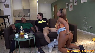 Desi Cuckold watches his wife getting fucked by his team up